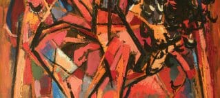 Abstract painting with orange, red, and black