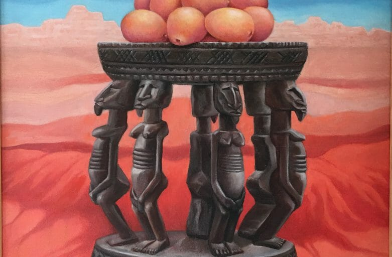 Painting of oranges in a desert landscape