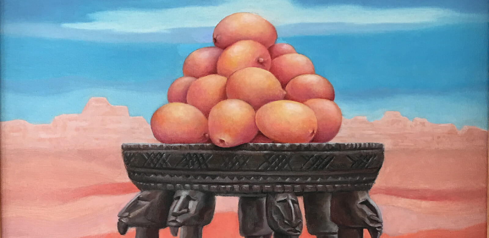 Detail from painting of stacked oranges in a desert landscape