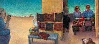 Painting of tropical beach scene