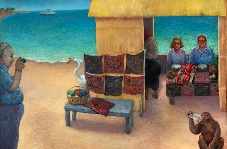 Painting of tropical beach scene