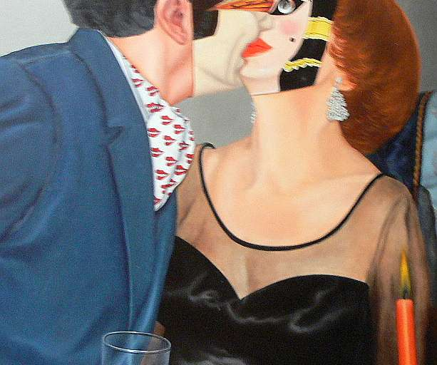 Masked Lovers Kissing