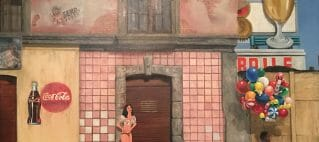 Surrealistic painting of a derelict street